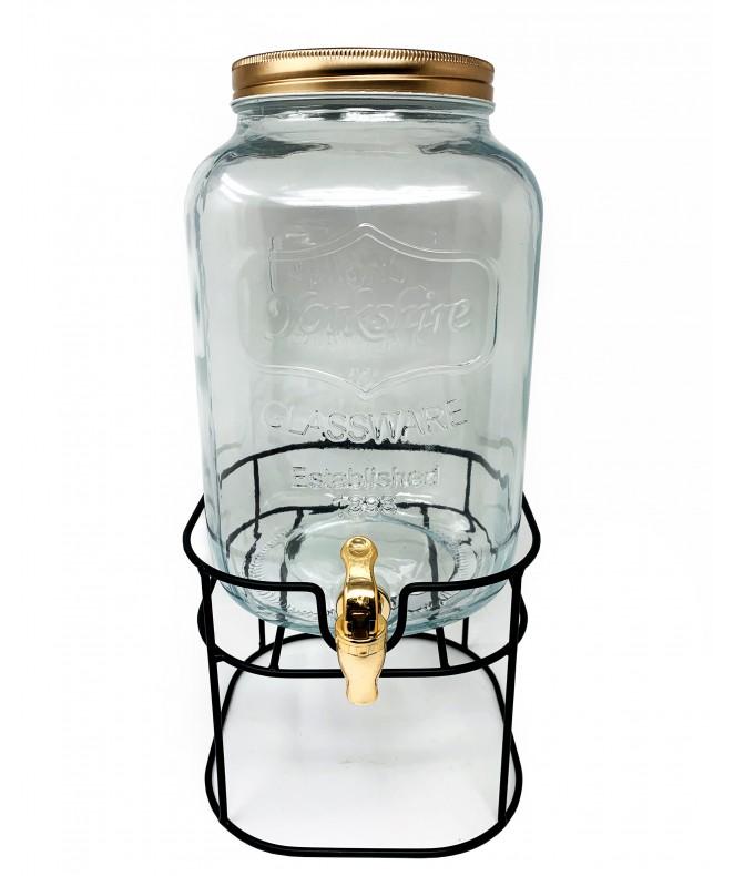 Dispenser de vidrio c/base metalica -cap 8l aprox - DISPENSER Y FRASQUITOS