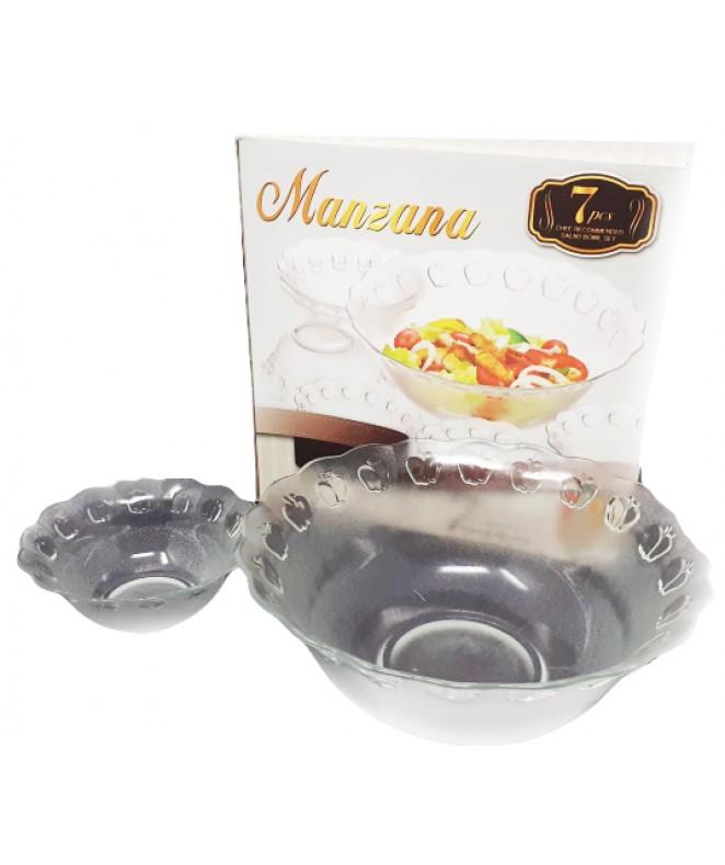 Jgo vidrio 7 pzas- 6 comp y 1 bowl .MANZANA. - ENSALADERAS COMPOTERAS Y BOWL