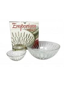 Jgo vidrio 7 pzas- 6 comp y 1 bowl .EMPORIUM. - ENSALADERAS COMPOTERAS Y BOWL