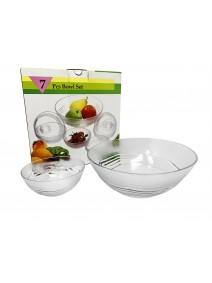 Jgo vidrio 7 pzas- 6 comp y 1 bowl .OCTAGON. - ENSALADERAS COMPOTERAS Y BOWL