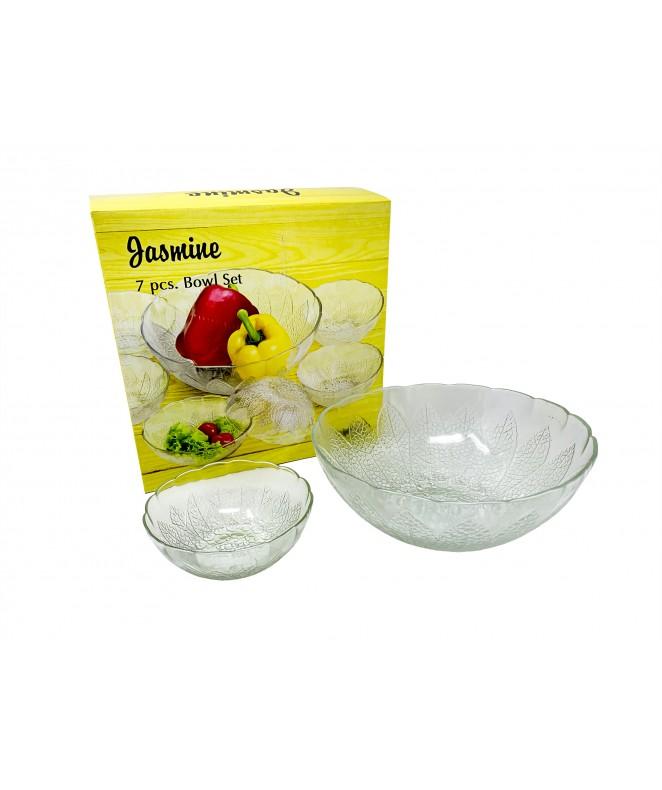 Jgo vidrio 7 pzas- 6 comp y 1 bowl .JASMINE. - ENSALADERAS COMPOTERAS Y BOWL