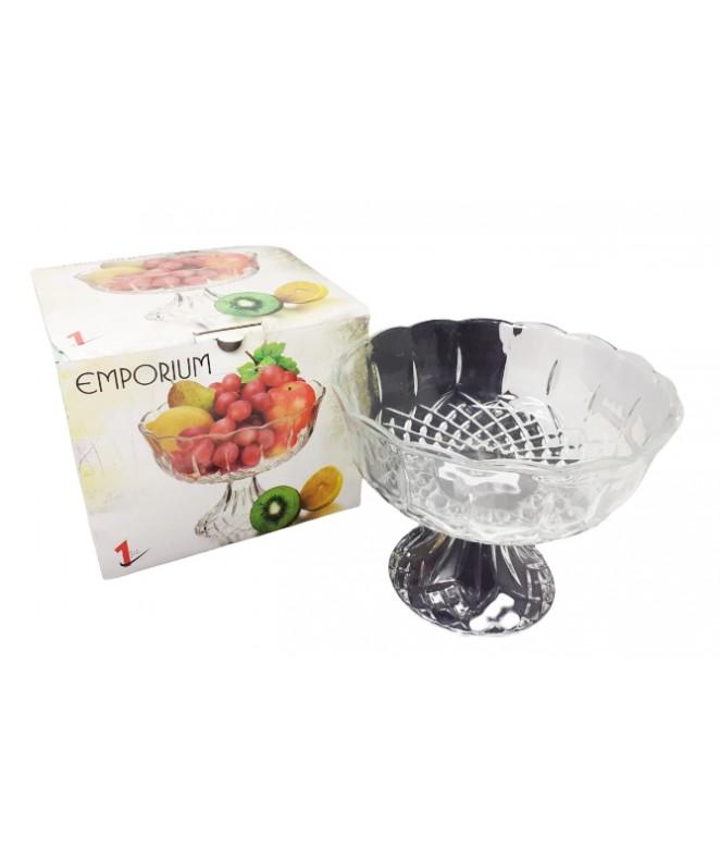 Frutera de vidrio c/pie EMPORIUM 22.5cm aprox - VIDRIO  DISCONTINUO