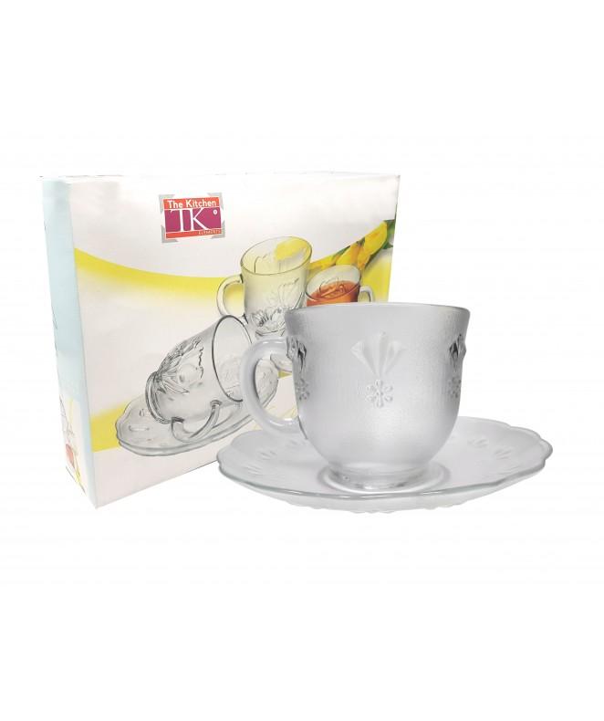 Set x6 tazas + platos de té  GINA 230ml aprox - TAZAS Y JUEGOS DE TE