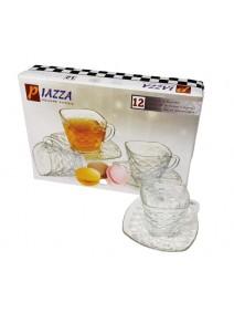 Set x6 tazas + platos de té  PIAZZA 230ml aprox - TAZAS Y JUEGOS DE TE