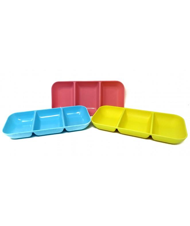 Bandeja rectangular decorativa c/ 3 divisiones 25 - BAMBOO
