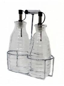 Set aceitera/vinagrera vidrio c/soporte- cap 270cc - ACEITE VINAGRE Y SAL