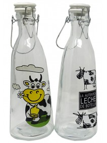 Botella de vidrio deco + tapa a presion-cap 1050cc - DISPENSER Y FRASQUITOS