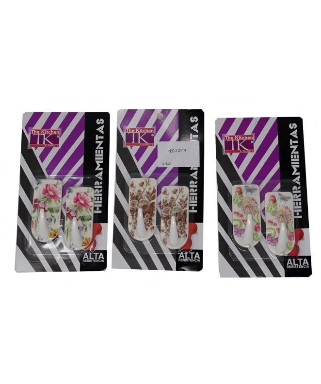 Set x2 ganchos adhesivos decorados - Plástico - GANCHOS ADHESIVOS