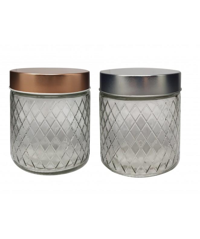 Tarro de vidrio romb tapa plat/cobre LYON-cap 850 - FRASCOS