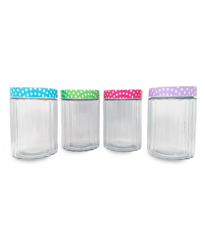 Tarro de vidrio en rel tapa puntos LILLE- cap 1350 - FRASCOS