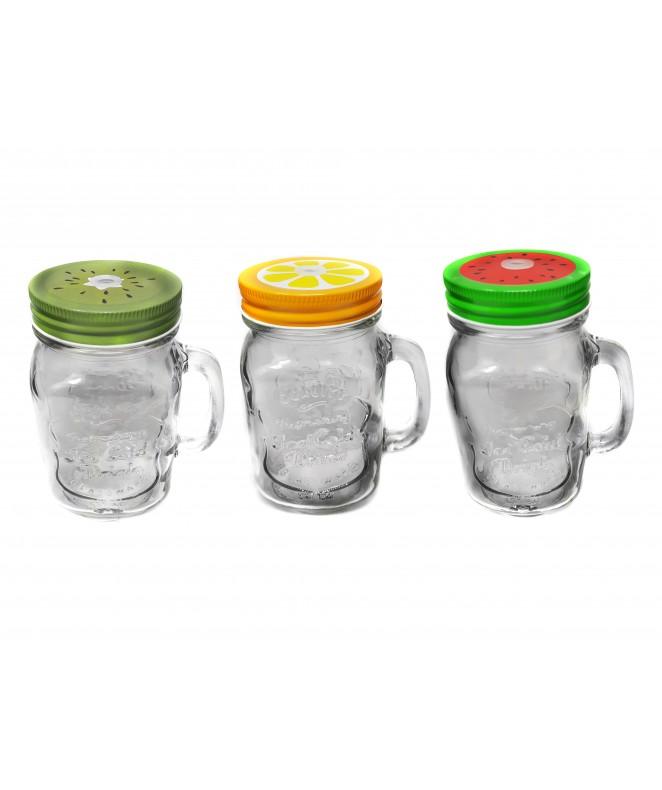 Frasco de vidrio c/tapa y sorbete ICE COLD-450 cc - DISPENSER Y FRASQUITOS