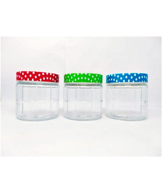 Tarro de vidrio c/cuadrados - BURDEOS-cap 800c - FRASCOS
