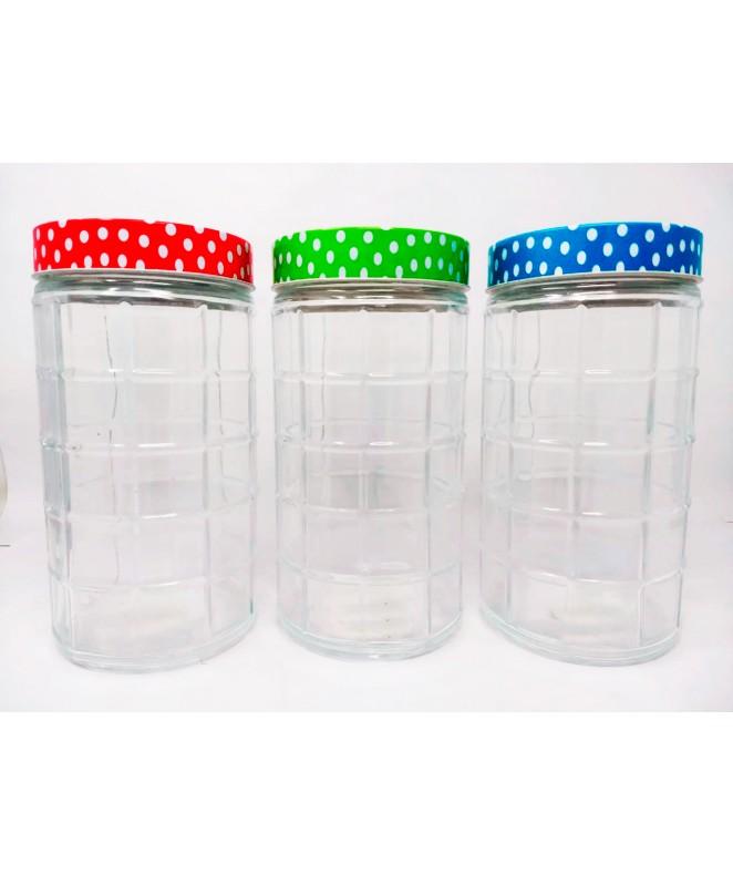Tarro de vidrio c/cuadrados- BURDEOS-cap 1750c - FRASCOS
