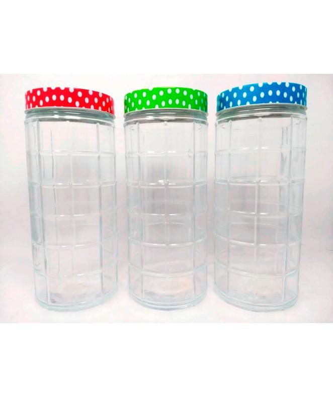 Tarro de vidrio c/cuadrados- BURDEOS-cap 2000c - FRASCOS