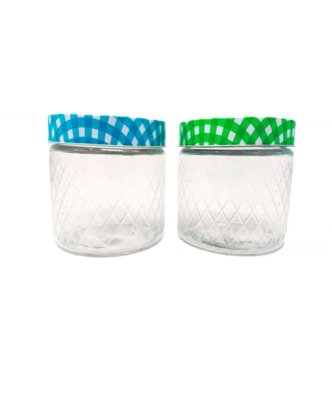 Tarro de vidrio / rombos - ORLEANS - cap 800c - FRASCOS