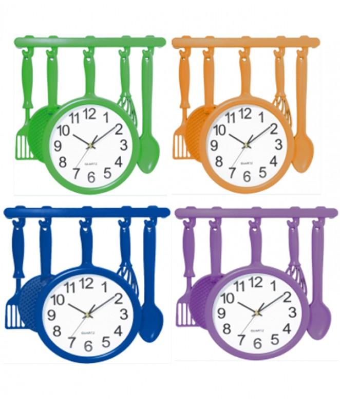 Reloj de pared plastico-33x35cm-4 mod surtidos - RELOJES