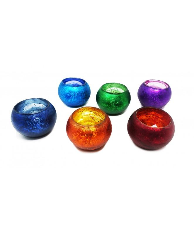 Portavelas bicolor jaspeado 6.50x7.50 cm aprox - DECO