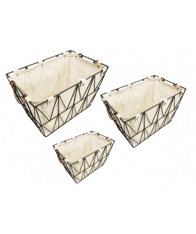 Set de 3 Canasta rect. c/tela y manijas 43*30cm - HIERRO-TELA