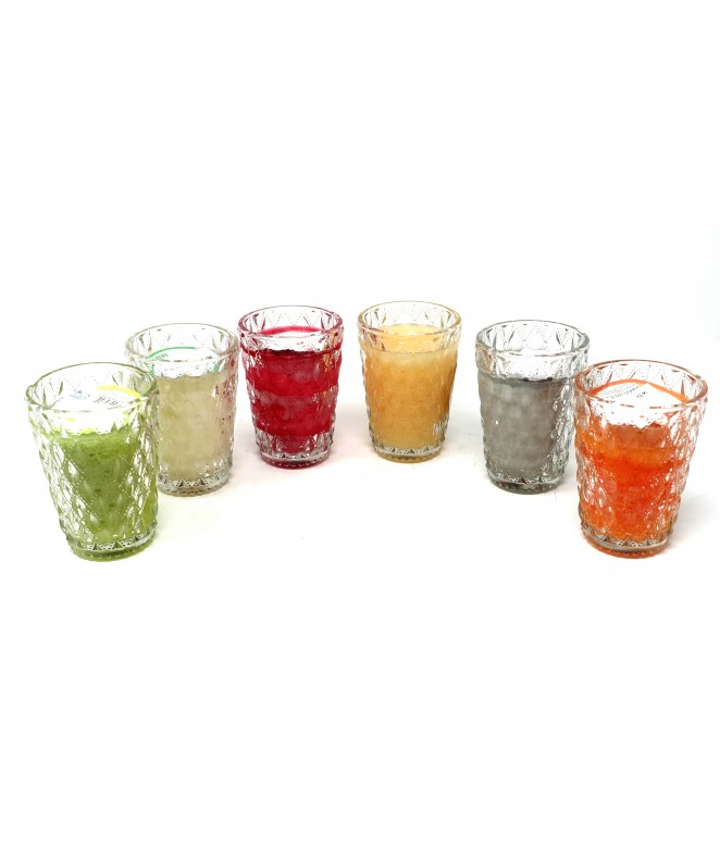 Portavelas vidrio 8x11cm +vela aromatica- 6 frag s - VELAS-