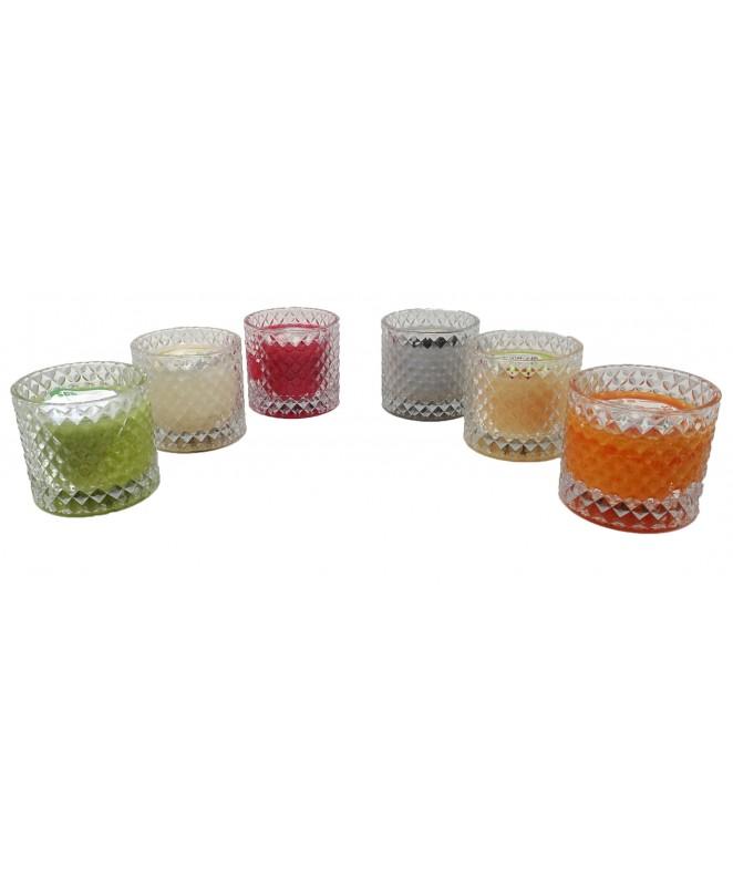 Portavelas vidrio 7.5x9cm +vela aromatica- 6 frag - VELAS-