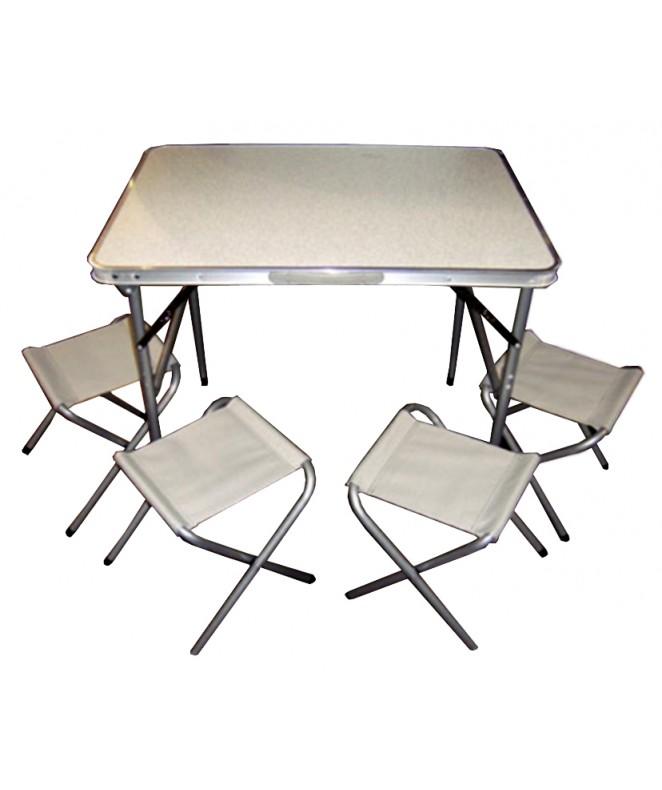 Mesa de camping 4 sillas plegable en valija bazar for Mesa de camping plegable con sillas