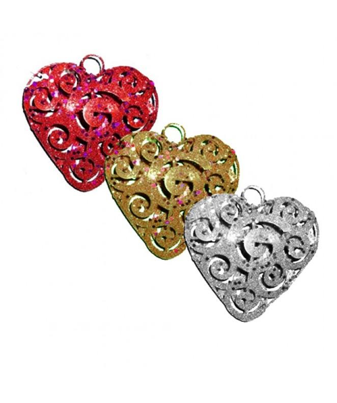 Corazón metálico doble 10cm aprox dor ro -