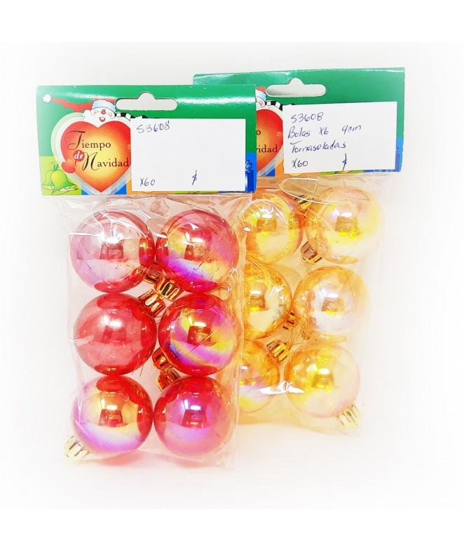 bolas x 6 4 cm tornasoladas -