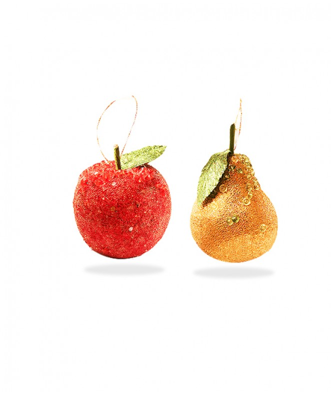 Fruta azucarada (pera manzana) p/colgar -