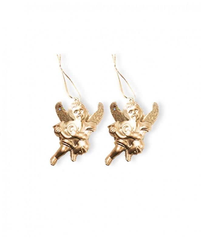 Set x2 ángeles c/ purp 9cm aprox - dor / plat -