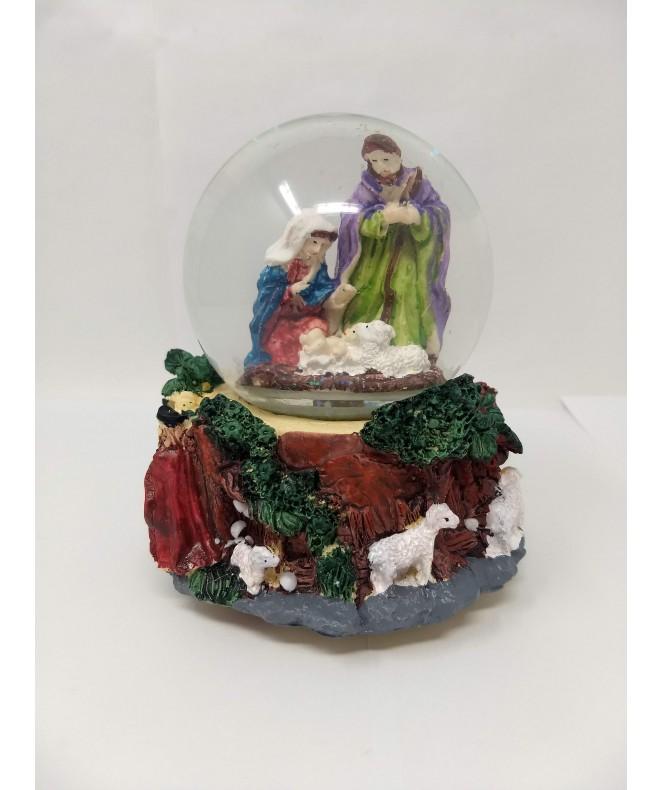 Pesebre en poliresina en bola de agua c/música -