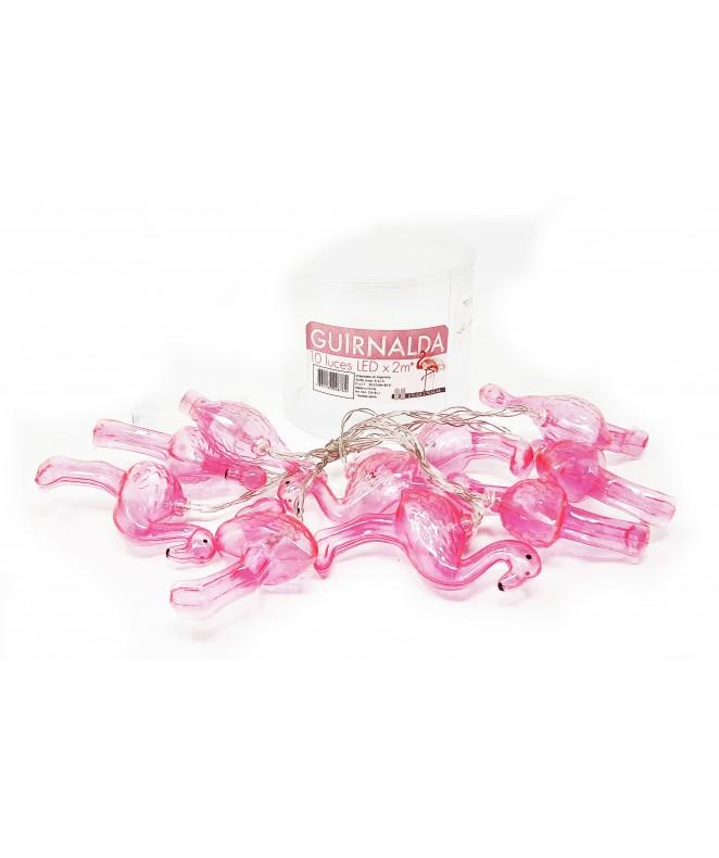 Cadena x10 LED flamencos rosa. a pilas 2AA -