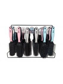 Rack x36 cepillos p/el cabello-  mango en 3 colore - CEPILLOS