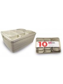 Set x10 cestas organizadoras 35*28*13cm - plastico -