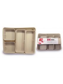 Set x5 cestas organizadoras 35*28*6cm - plastico -