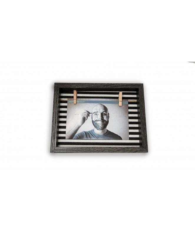 Portaretratos con tela y colgador 15x20cm - SIMIL MADERA