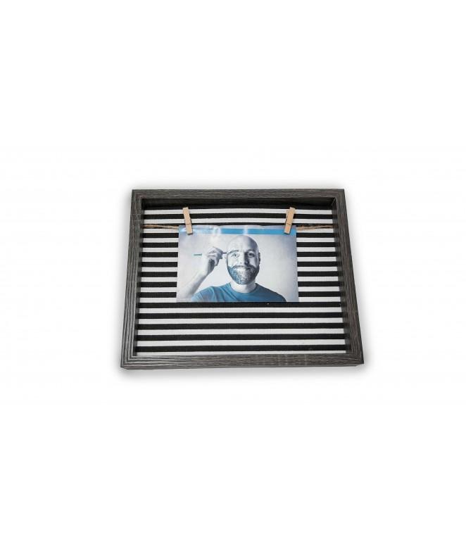 Portaretratos con tela y colgador 20x25cm - SIMIL MADERA