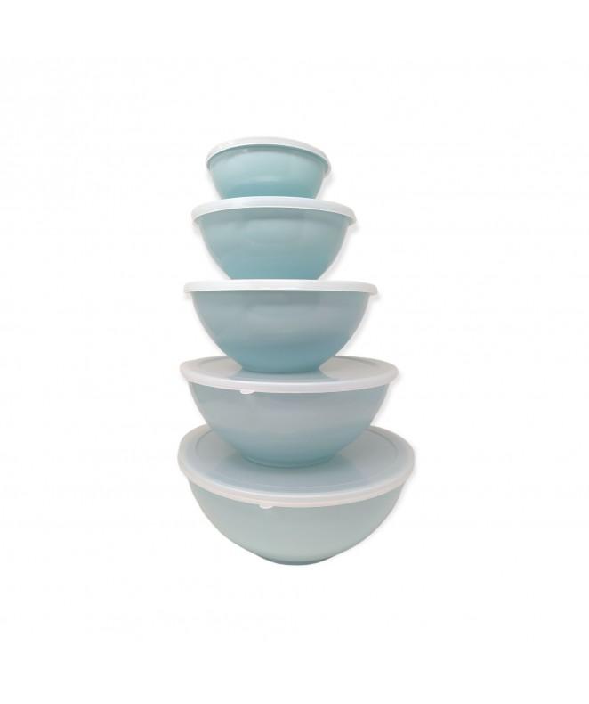 Set x5 bowls c/tapa (26-23-19.5-16-12cm apr) - COLORES