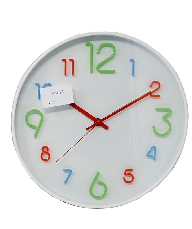 Reloj de pared plast. 30cm aprox-  nros de colores - RELOJES