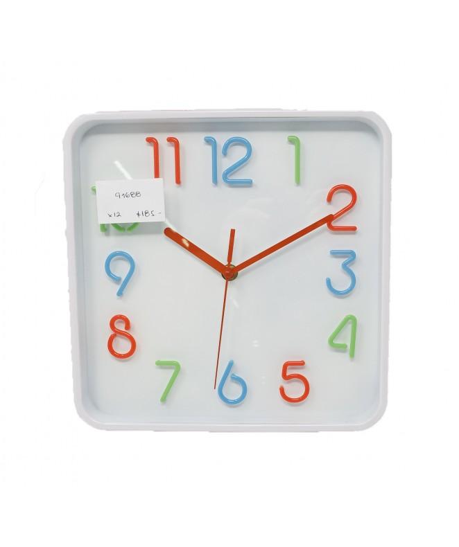 Reloj de pared cuad plast. 25cm aprox- - RELOJES