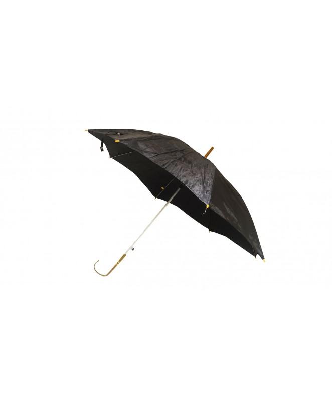 Paraguas aut. Negro mango y detalles en madera 54c - PARAGUAS
