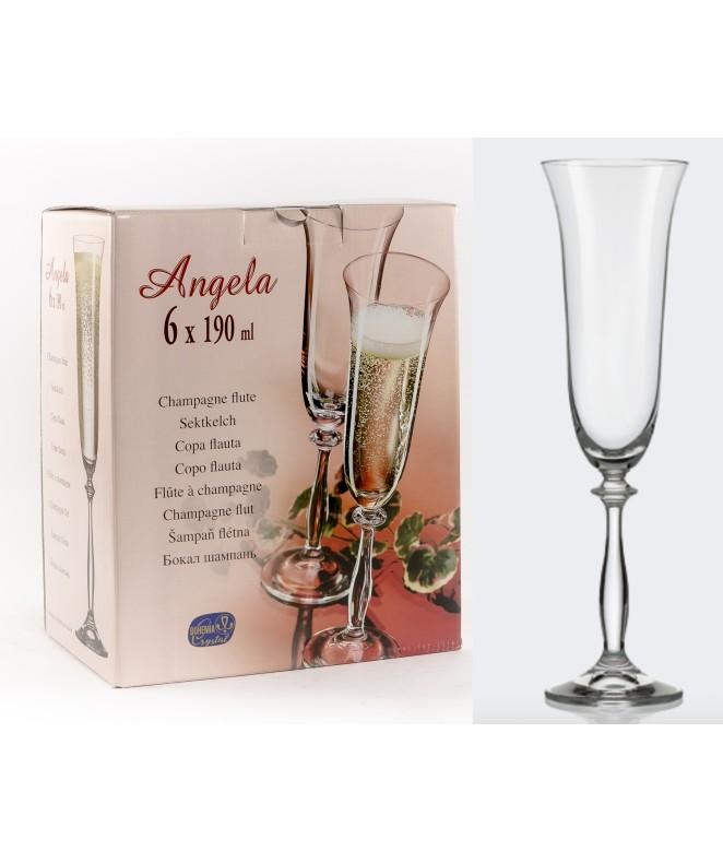 px6 copas ANGELA flauta 190cc aprox - COPAS EN CAJA DE REGALO