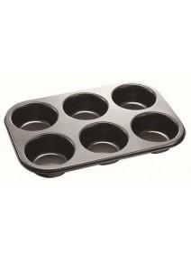 Molde p/muffins x6 antiadherente 26.5x18.5cm - TEFLON DISCONTINUO