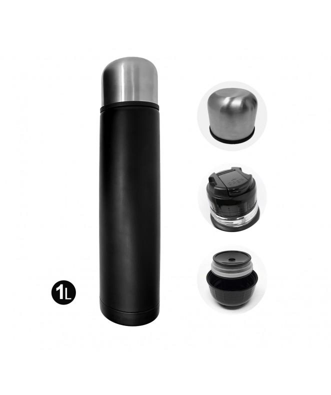 envase térmico 1L acero color negro - TERMOS