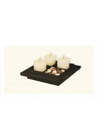 Jgo 3 velas+piedras deco+bandeja madera - PORTAVELAS