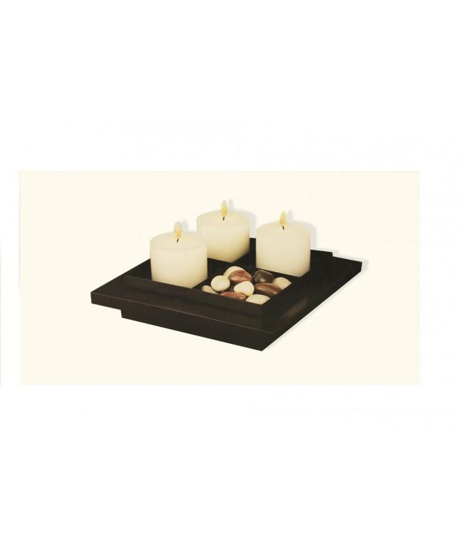 Jgo 3 velas+piedras deco+bandeja madera - DECO