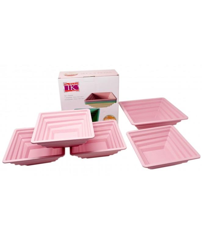 Set 5pz: 1 bowl cuadrado 25cm + 4x20cm Fibra + pla - JUEGOS INFANTILES