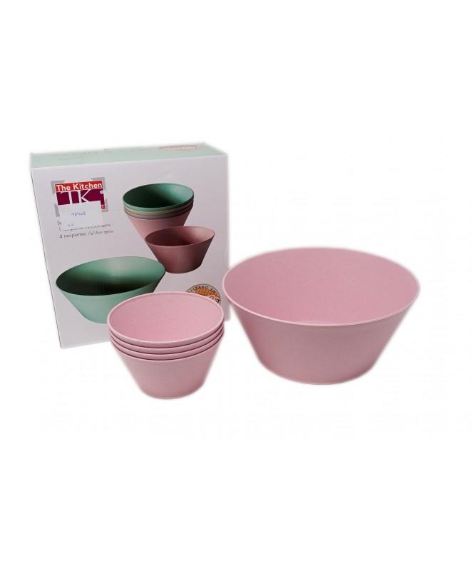 Set 5pz: 1 bowl 25cm + 4x20cm -Fibra + plástico - ARTICULOS PARA SERVIR