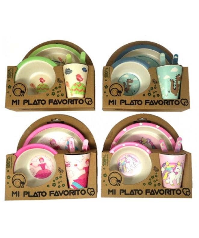 Juego de bambu  -5 piezas redondo -2 decorados - JUEGOS INFANTILES