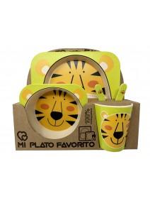 Juego de bambu -5 piezas cuadrado -2 decorados - JUEGOS INFANTILES